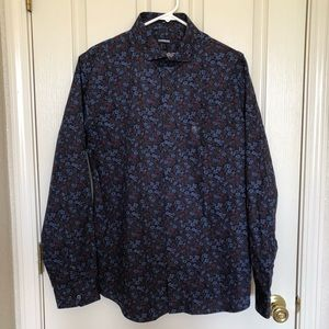 Express Slim Long Sleeve Floral Print Shirt Sz L